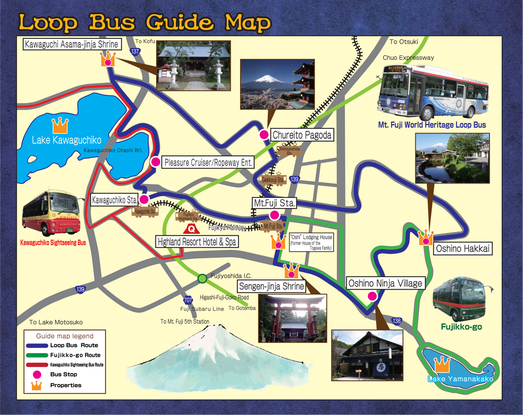 mt. fuji, world cultural heritage site loop bus - fujikyuko bus